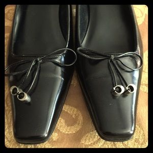 Coach low heel black leather shoes